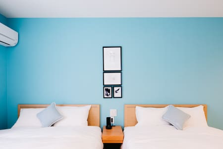 2double 1sofa bed TiffanyBlue*門司港駅徒歩5分*新築広い5名宿泊可