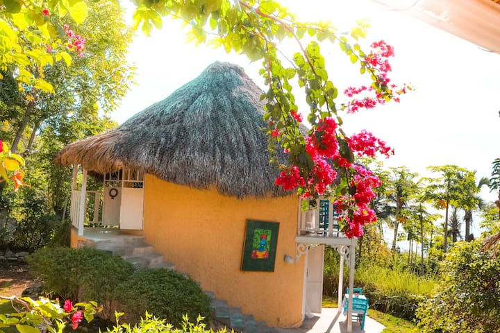 The two story guest bungalow is a round Taino Amerindian style structure celebrating local craftsmanship. All of Chic Chateau was constructed by your hostess.