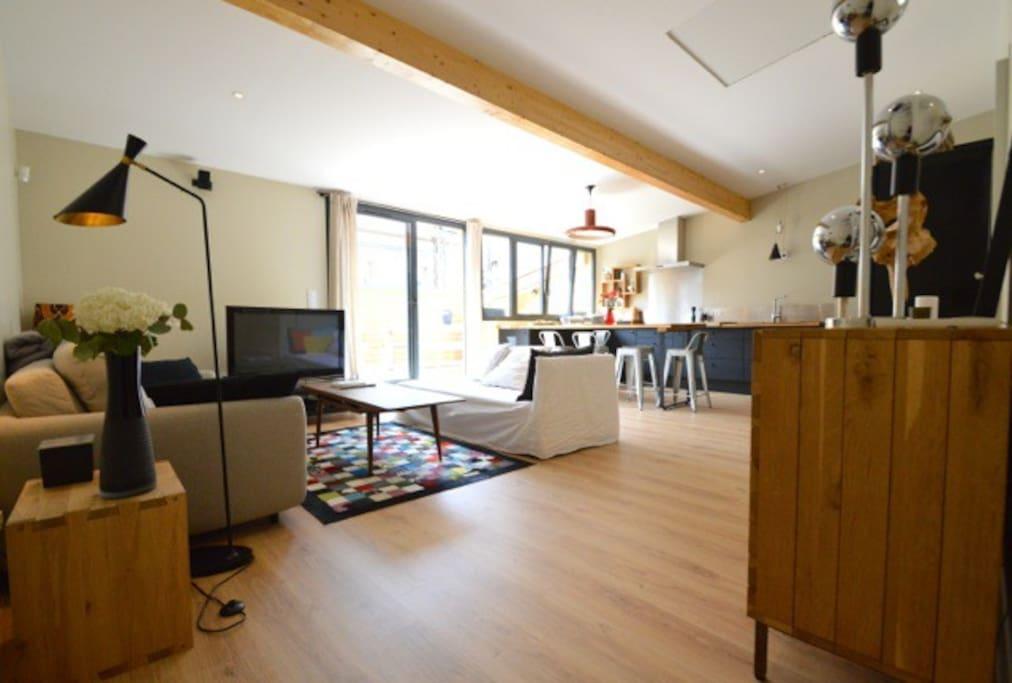 Salon, cuisine ouverte 40m2, climatisé, avec canapé convertible haut de gamme, et sa belle terrasse.