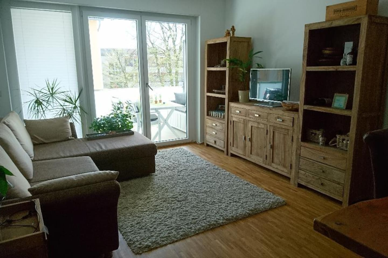 GEmütlich eingerichtetes Wohnzimmer mit Balkon Zutritt und ausziehbarer Couch.