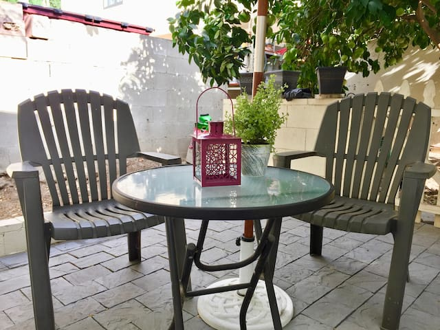 Outdoor seating in the private patio!