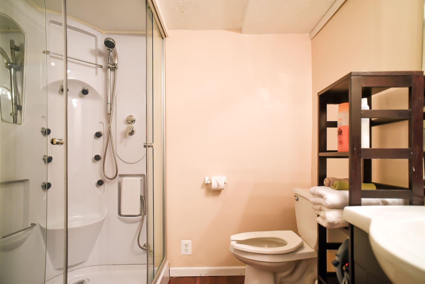 You won't believe this shower! Very nice and relaxing, multi-head shower with a foot massager in your private bathroom!