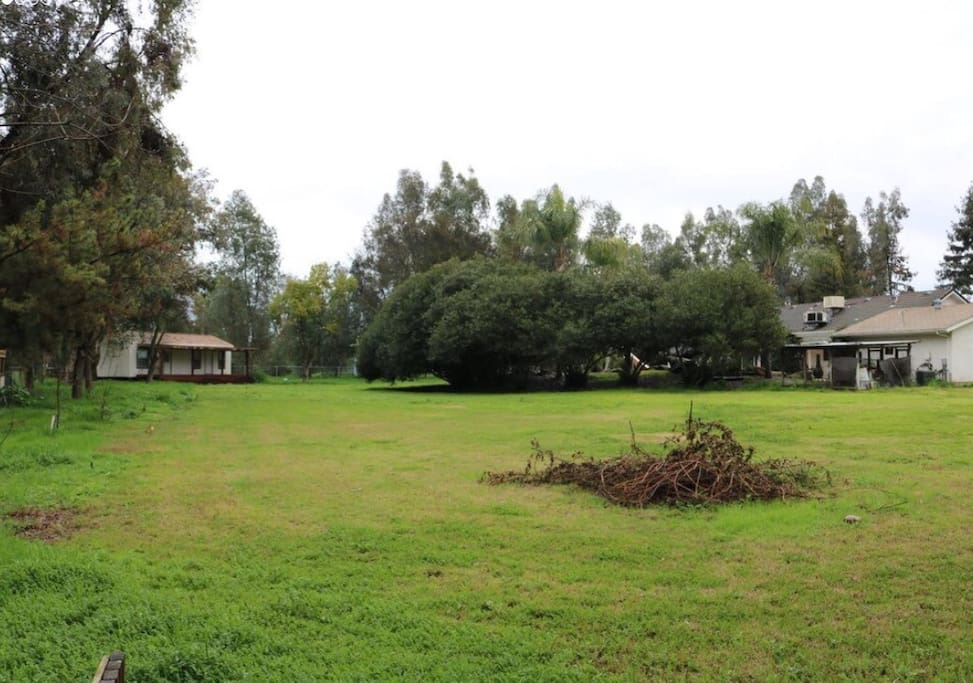 The building in back left is the guest house.  As you can see there's plenty of room to have a picnic, play volleyball, horse shoes or sit in a hammock.