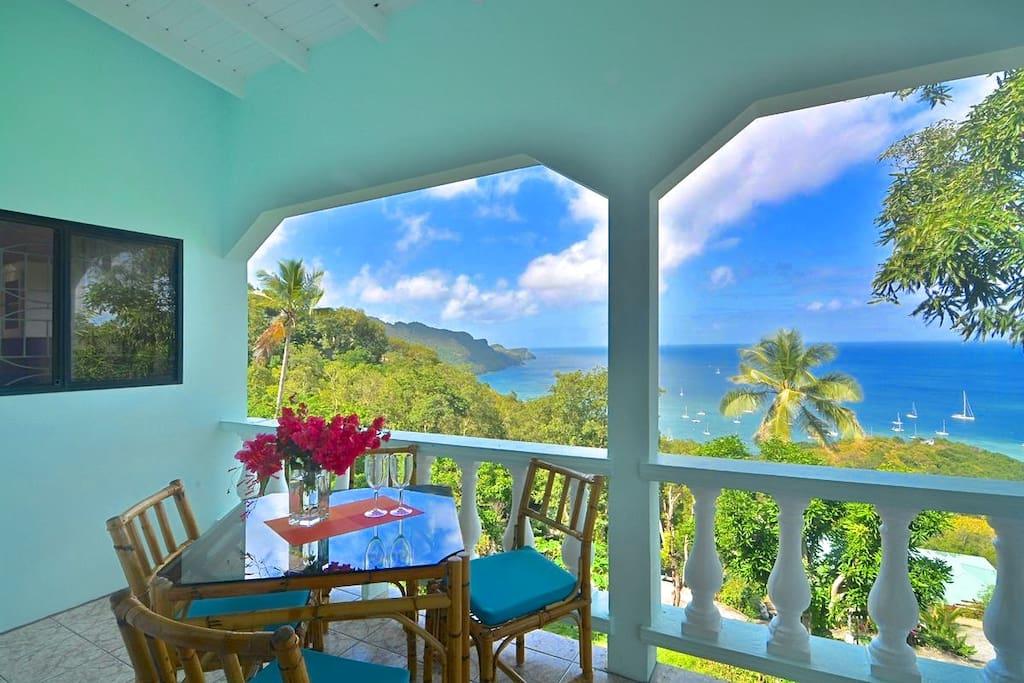 Panoramic View and dining on veranda