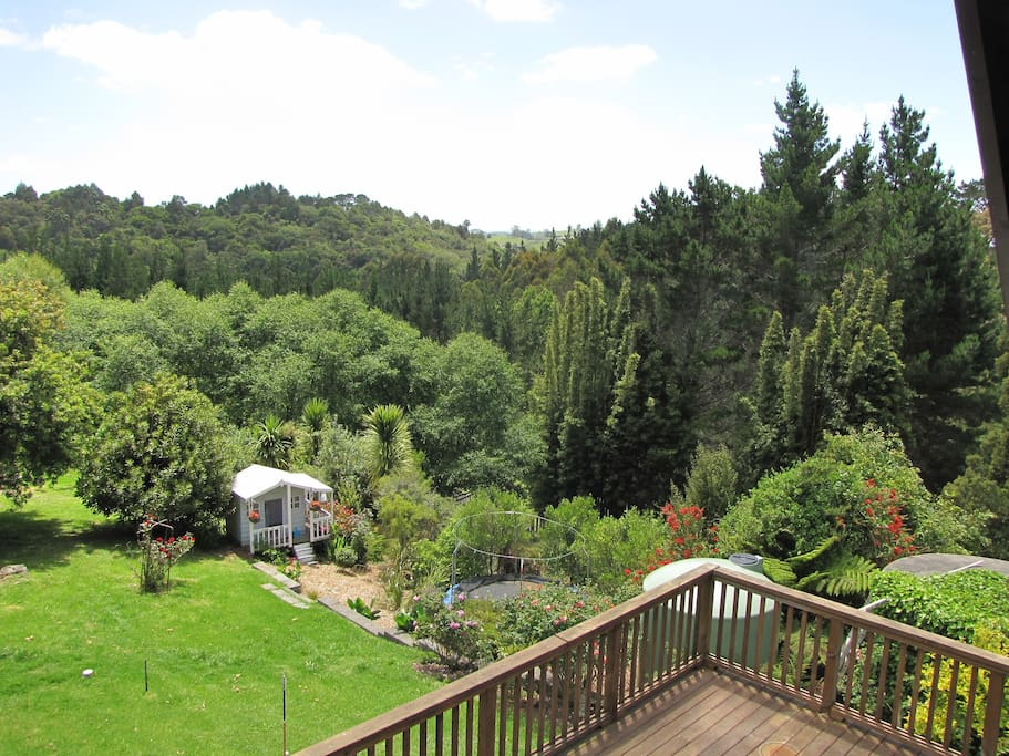 Views from the deck with children's playhouse