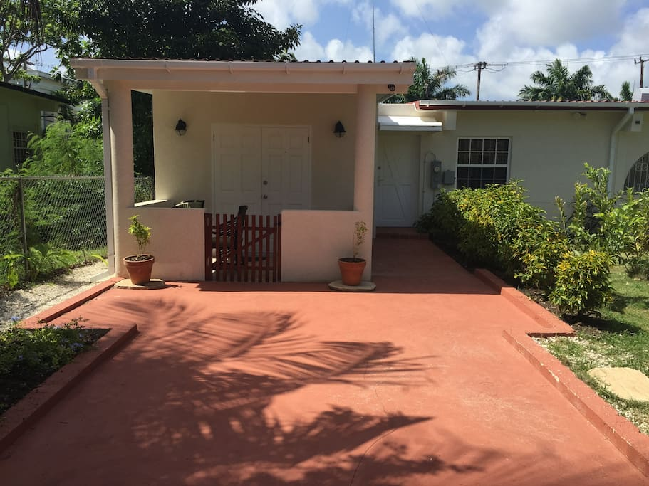 Private, gated driveway leading up to patio