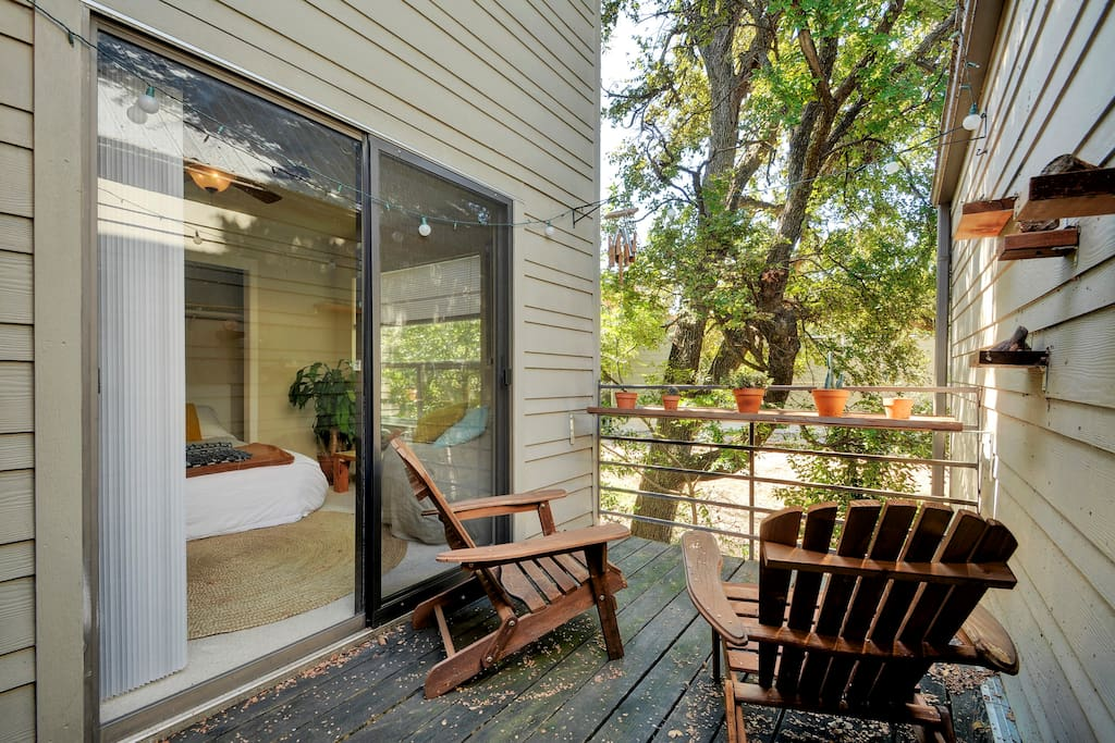 Private deck with sliding glass doors from the bedroom and living area