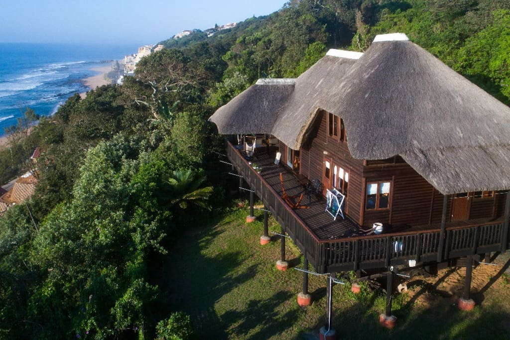 Aerial footage of the lodge