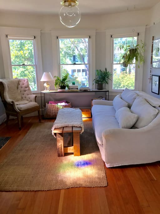 Living room with pretty views of historic homes