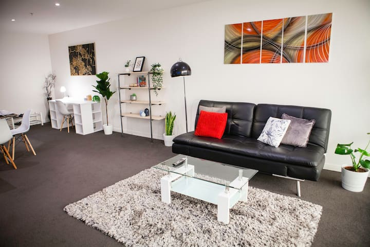 Bright modern 1BDR, wifi, parking, close to city