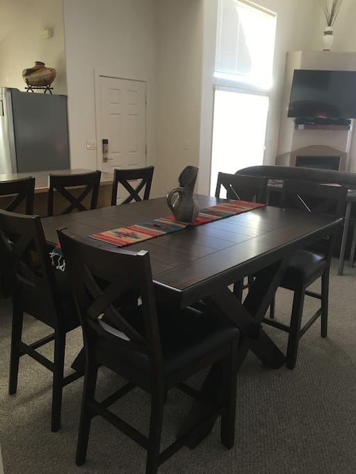 Dining seating for 8,  Table expands too.
