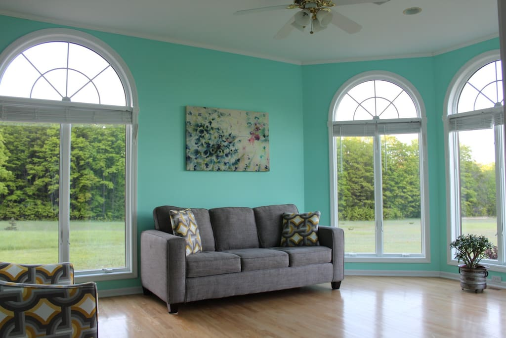 Sunroom with pull out queen sofa