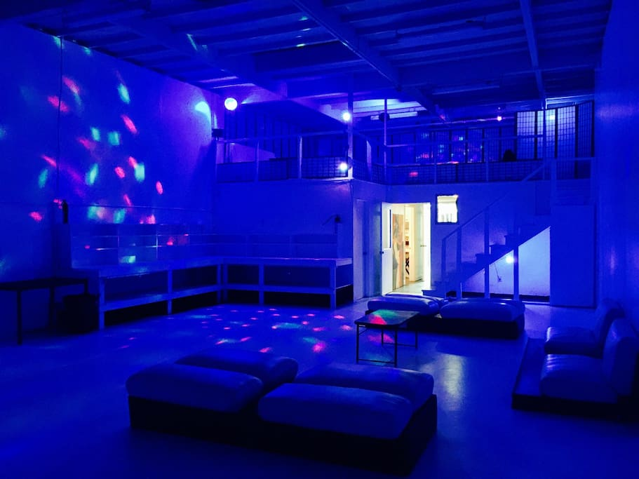 PARTY AREA 1300SF AND MEZZANINE - BLUE LIGHTS AND STROBE LIGHTS ON