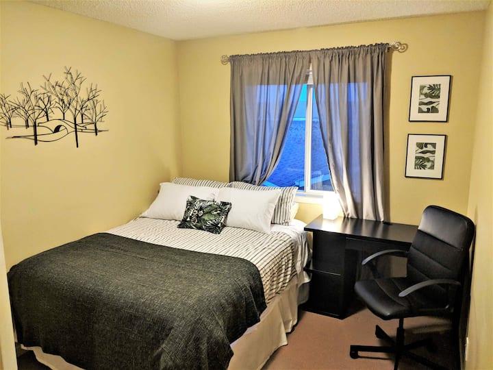 Clean & Comfy Queen Green Bedroom