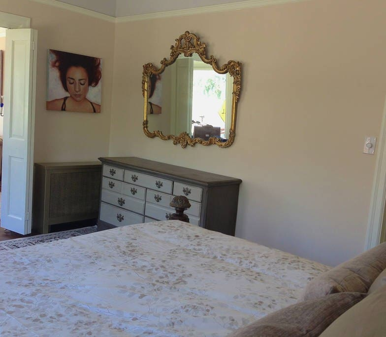 Antique mirror and dresser are available for you,