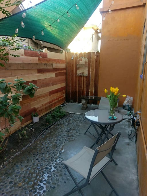 Outdoor seating area with power outlets for working outside