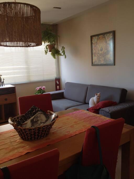 Sala inferior com mesa de jantar, ao lado da cozinha
