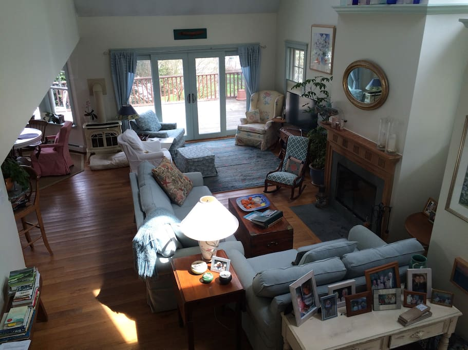 Large light filled open floor plan living, dining and kitchen with