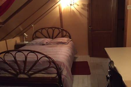 Chambre mansardée, 2 lits de couple - Saint-Amarin