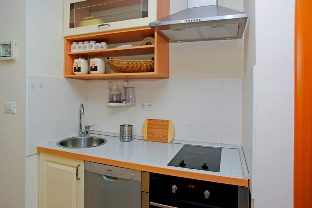 gorgeous small kitchen with all necessary in it