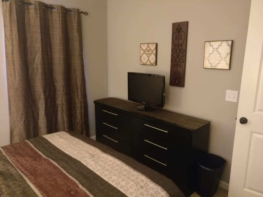 Large dresser for personal items during your stay and TV with Amazon Firestick so no shows are missed while you're away from home!