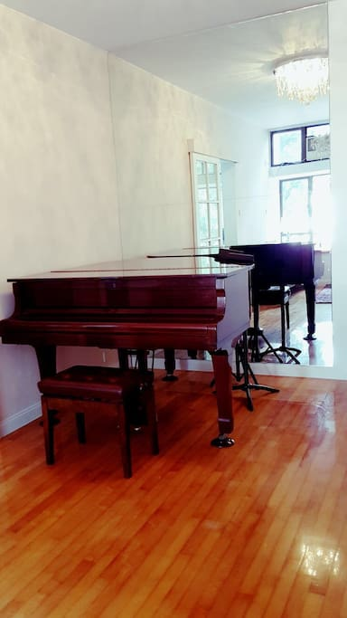 Grand piano view from bay window in living room