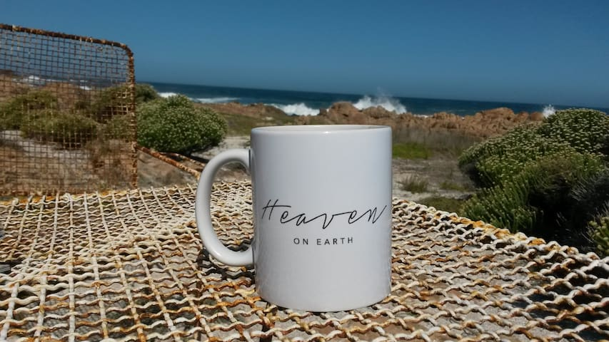 Enjoy a cup of coffee at our outside 'coffee shop' hearing the waves crash in front of you | mug by www.godsheartbeat.co.za They also sell amazing coffee!