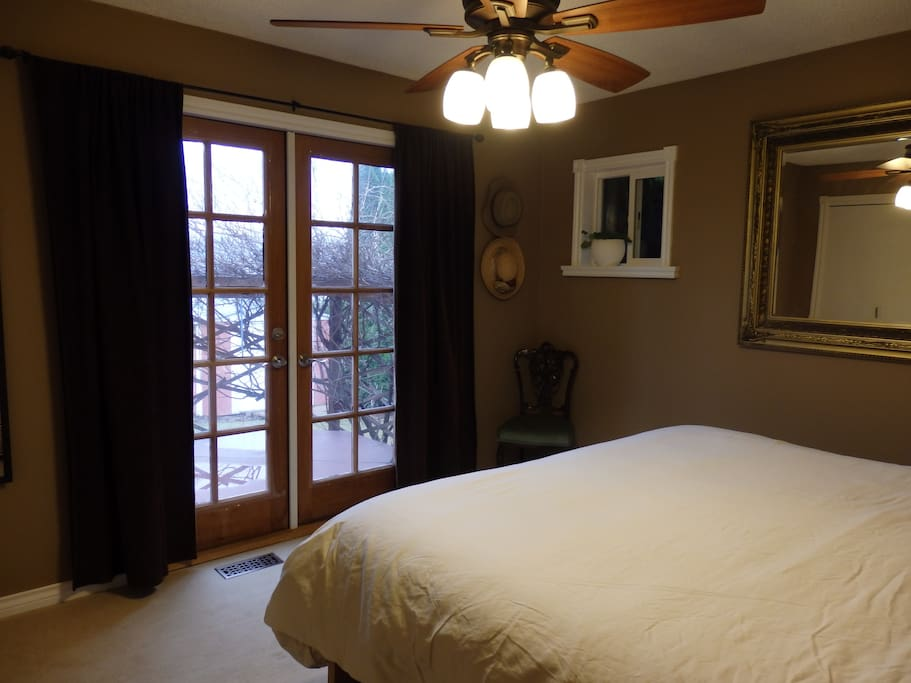 master bedroom, french doors out to back deck