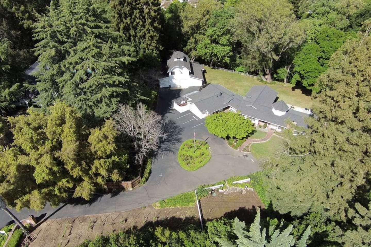 Aerial View of Stahlecker House - One Acre with Creek