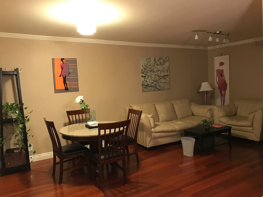 Shared dining area and living room