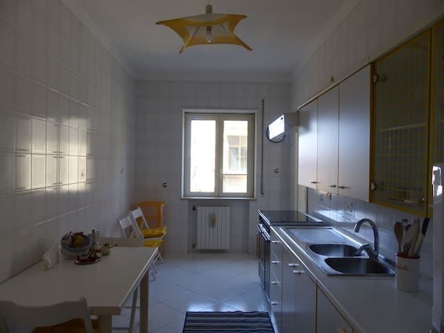 Luminosa ed ampia cucina con frigorifero, forno a microonde