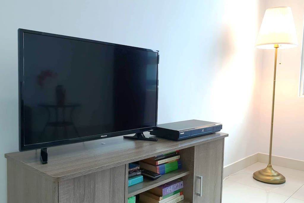 LED TV and Bluray player... DVDs are provided for your entertainment.