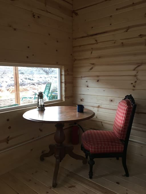 Cabin seating area for eating or working.