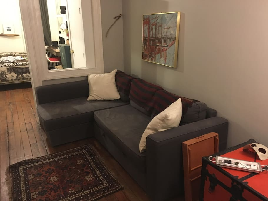 Pull-out couch - BEFORE. (The after shot is the next photo.) This room is private and only accessed by you. Your personal chill zone in the apartment.