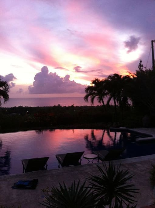 sunset over the pool