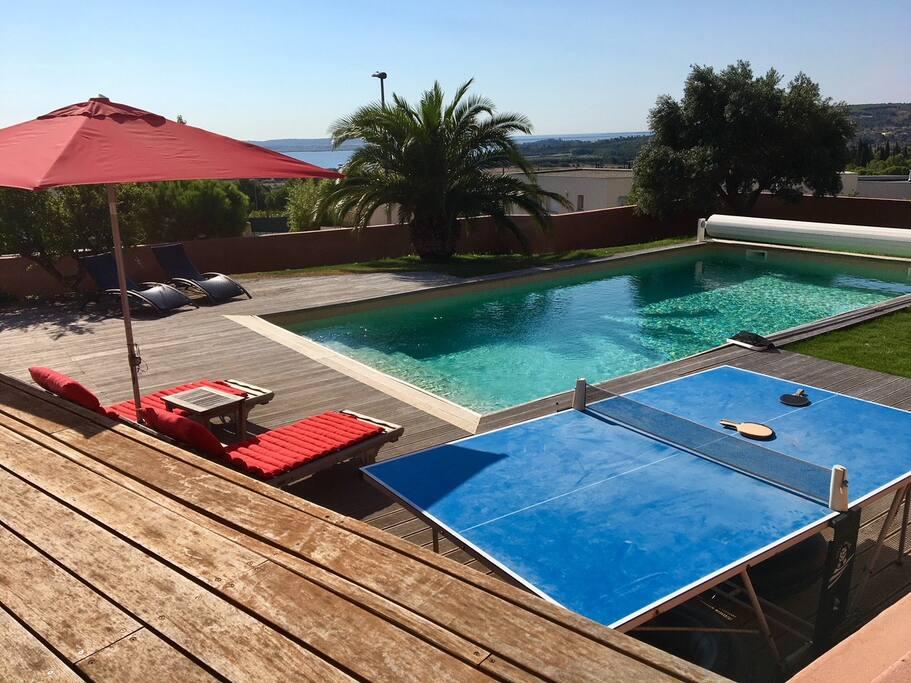 Villa d 39 archi avec piscine vue mer villas louer for Piscine narbonne