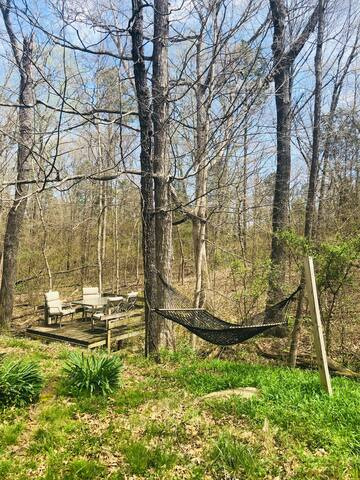 The Cottage has an awesome outdoor space with a large firepit with seating, a deck that overlooks a small creek, and hammock for lounging outdoors.