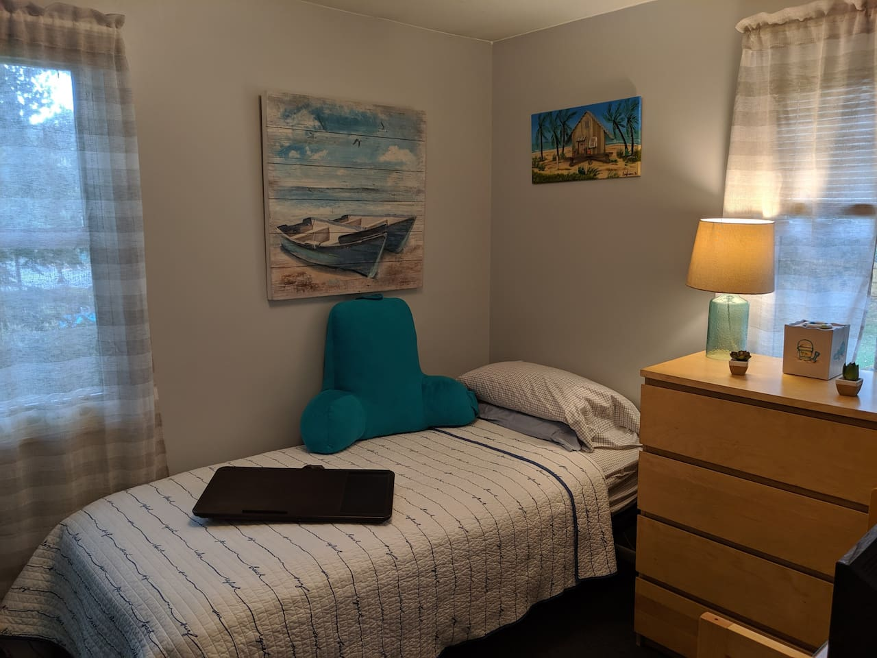 This room had recently been upgraded with a new electric bed. Put your feet up, and relax!