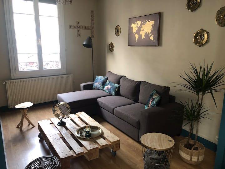 Maison calme et cosy, proche de la Gare