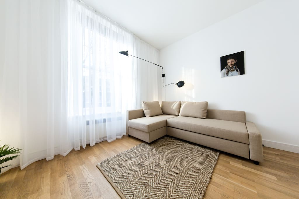 The apartment is awash with modernist design and unique artworks.