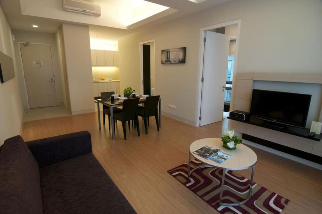 Spacious living room for couple, family and friends