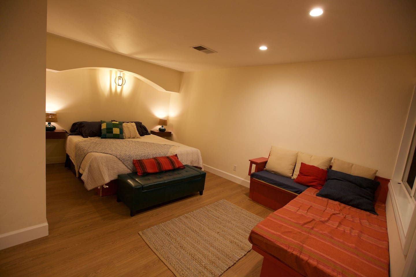 Living space and king size bed.