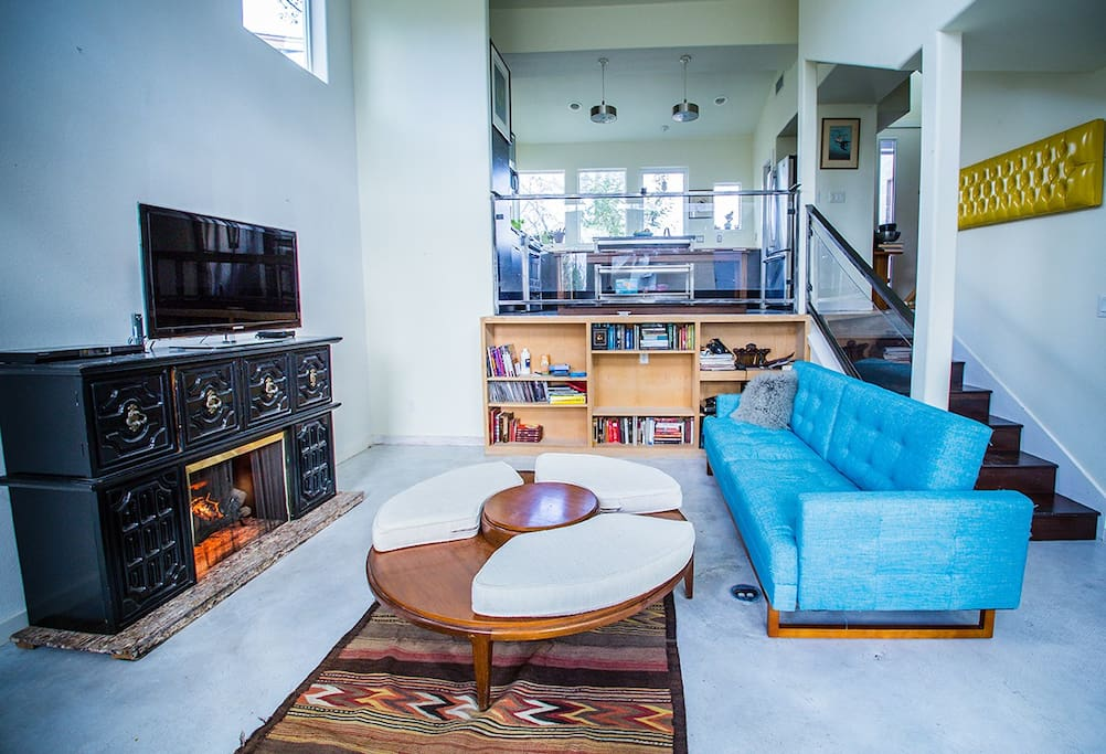 Living room -faux fire place record player
