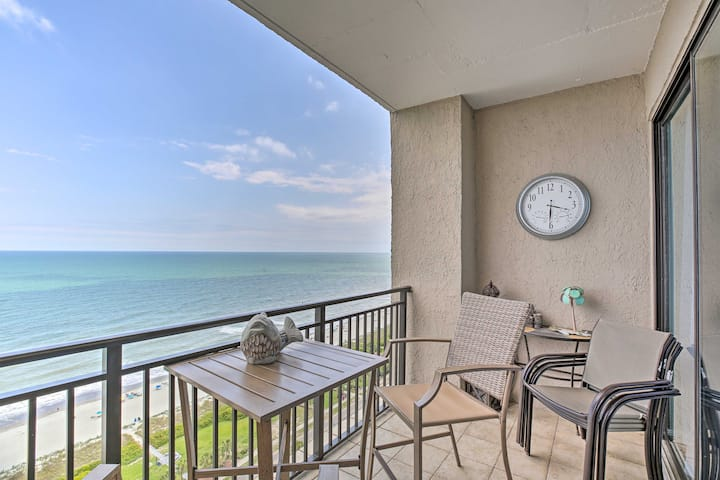 NEW! Ocean-View Condo w/ Fireplace, Walk to Beach!