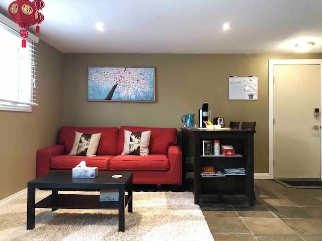 Semi-basement suite with spacious living area