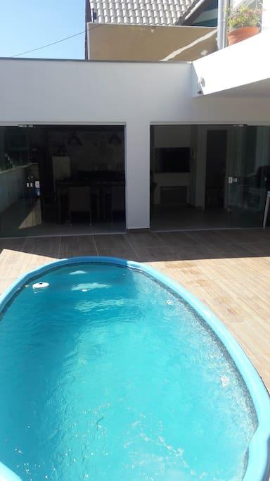 Vista piscina espaço gourmet