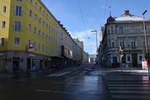 Blick von der Annenstraße in Richtung Hauptbahnhof