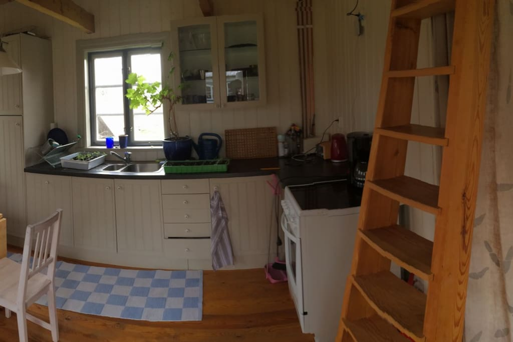 Kök med allrum och trappa upp till sovloft med extra sovplatser