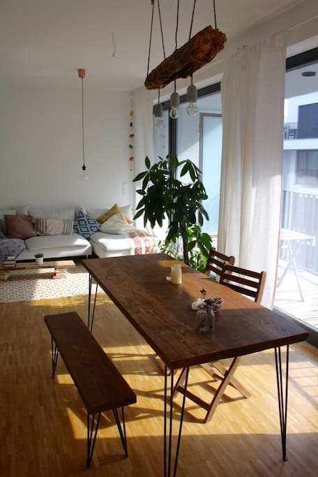 Dining table. There is a large balcony to the right with a breakfast table!