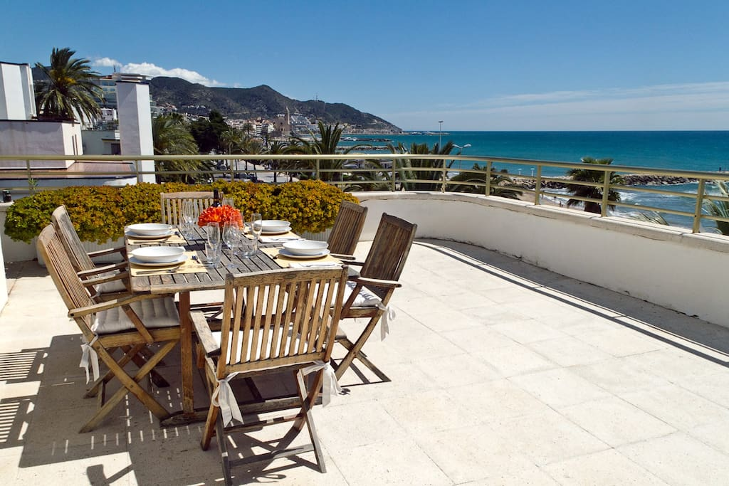 Outdoor Dining Table on Sea View Terrace with spectacular views of the sea and Sitges town